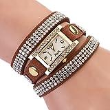 Women's Vintage Square Dial Rhinestone Weave Wrap Multilayer Leather Bracelet Wrist Watch (Coffee)