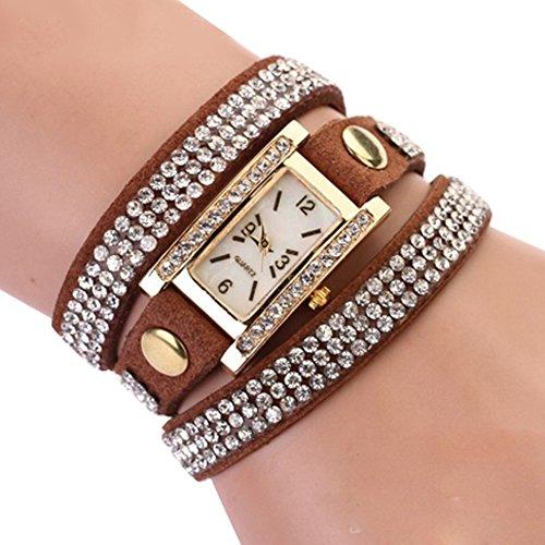 Women's Vintage Square Dial Rhinestone Weave Wrap Leather Bracelet Wrist Watch (Brown)