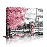 Canvas Wall Art Black White and Pink Umbrella