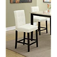 Set of 2 Bar Stools Cream Faux Leather Parson Counter Height Chairs with High Back and Four Tuft Buttons