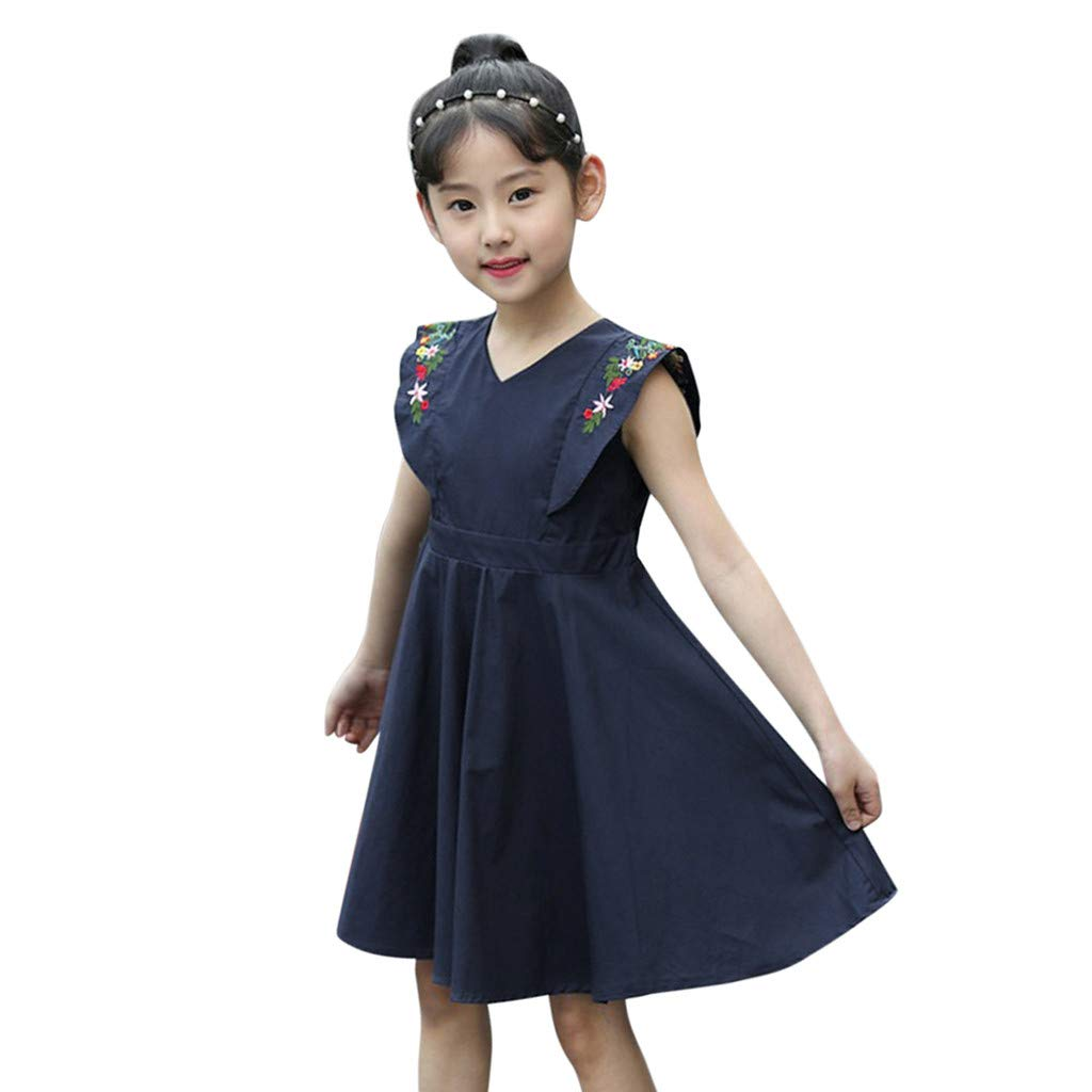 Sporting Kid Girls Dress Cute Children Printing Pattern Cotton Blend Dress Clothes Summer Lovely Kids Teens Sleeves Dresses Dresses