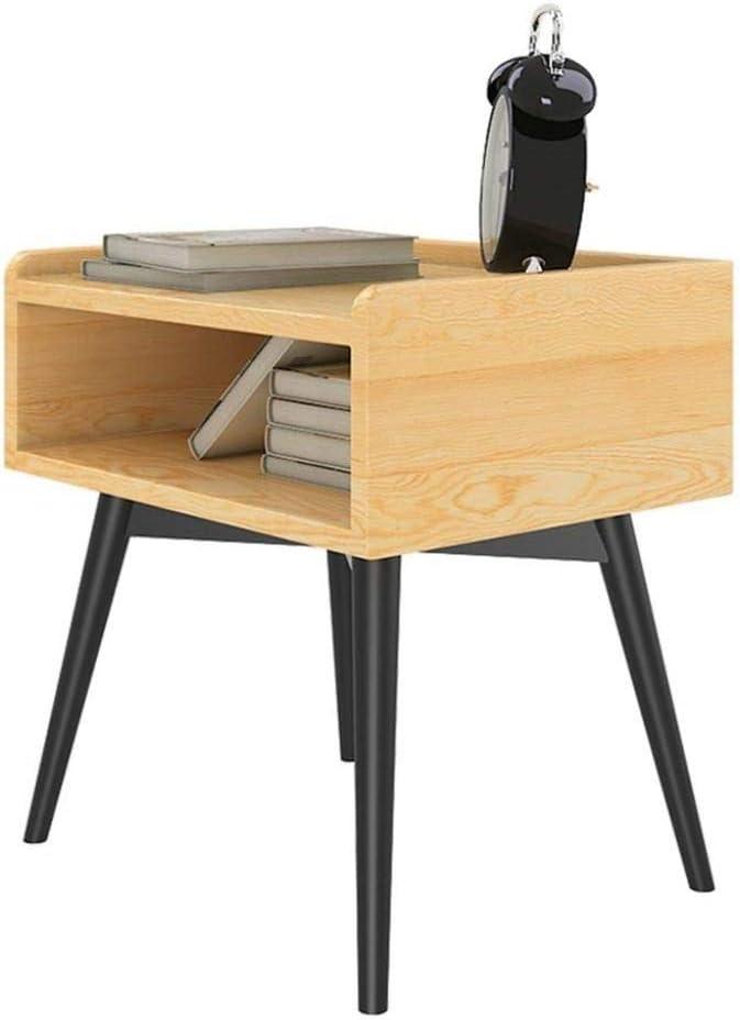 YSDHE エンドベッドサイドテーブル収納コンパートメント収納ラックベッドルームキャビネットソリッドウッドベッドサイド収納ボックス、40×50×50センチ