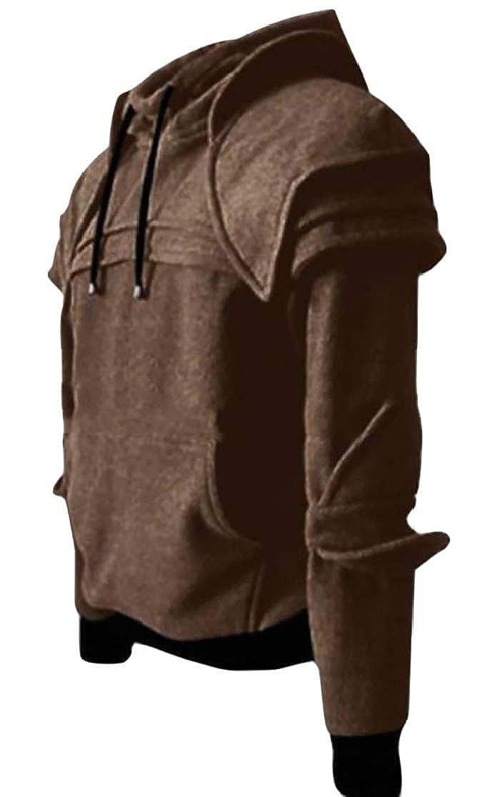 Joe Wenko Mens Hooded Casual Vintage Mask Pullover Medieval Knight Sweatshirts