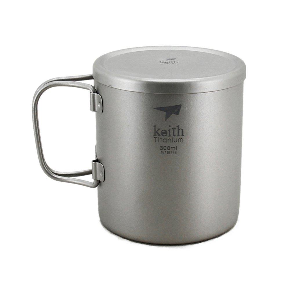 Keith Mango plegable doble pared taza Camping Titanium Mug Outdoor Cup