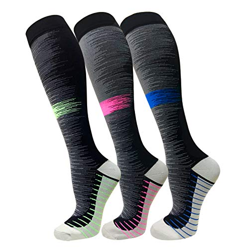 (Compression Socks For Men & Women(3 Pairs)- Best For Running,Athletic,Medical,Pregnancy and Travel -15-20mmHg (L/XL, Multicoloured 3))