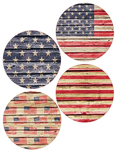 American Flag Coasters Rustic Farmhouse Barnwood July 4th (Set of 4)