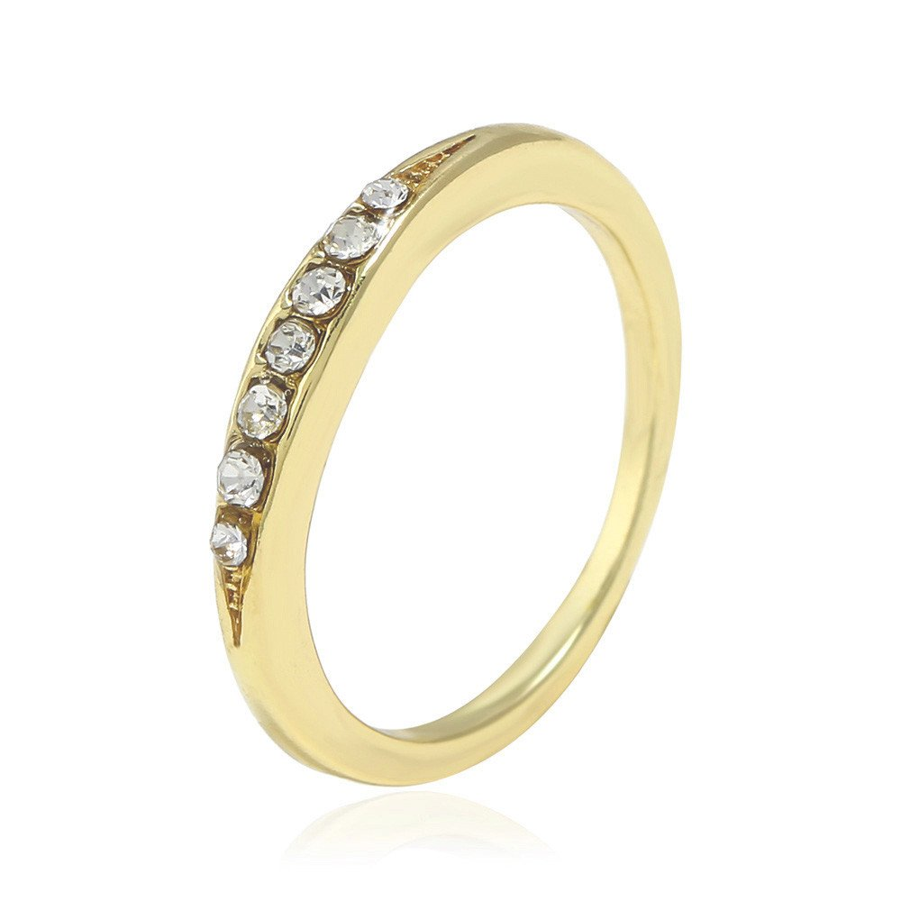 XBKPLO Rings for Women's Fashion Alloy Concise Diamond Wedding Party Band Size 6-10 (Gold, 9)