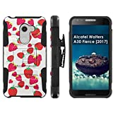 [Mobiflare] Alcatel REVVL A30 Plus 5.5-inch Screen Armor Case [Black/Black] Blitz Dual-Layer Phone Case with Holster - [Strawberries]