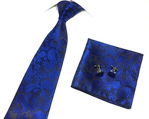 Men's Youth Dark Royal Blue Black Silk TieS Graceful Regular Soft Dating Necktie