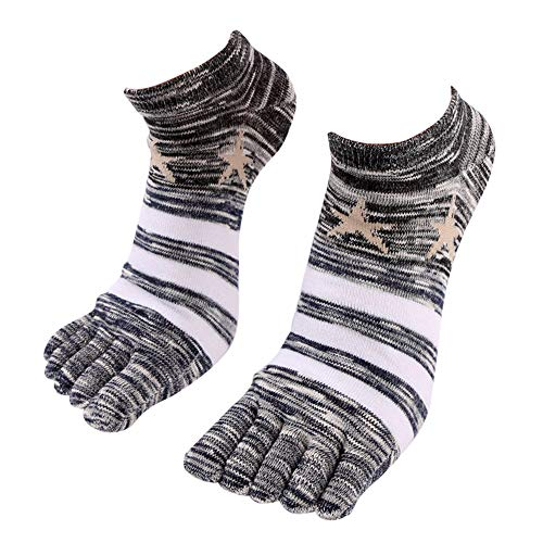 Mens Thicken Five Fingers Socks,Realdo Men Anti Slip Soft Comfy Stripe Stretch Socks