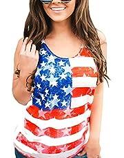 Barlver Women's American Flag Camo Sleeveless Tank Tops 4th of July Racerback Bowknot Stripes Patriotic T Shirts