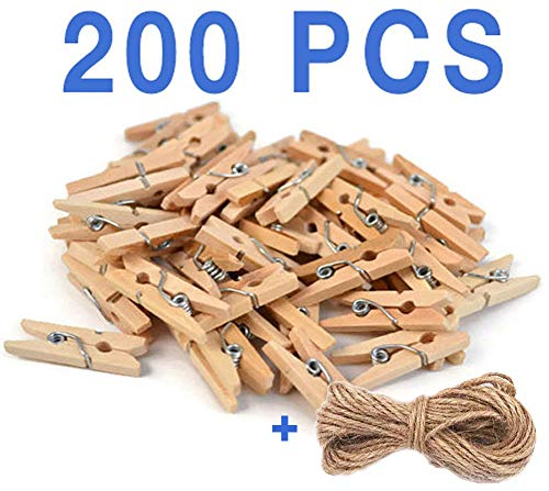 Mini, Natural Clothespins Craft Boutique, Wood, 200 Per Pack, Wooden Pins for Scrapbooking Wood -