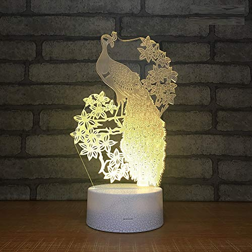 Price comparison product image L2eD 3D Led Lamp Table Night Light 7 Color Change Light with Multicolored Touch Button Acrylic Power by USB Or Batteries Gifts Kids Peacock