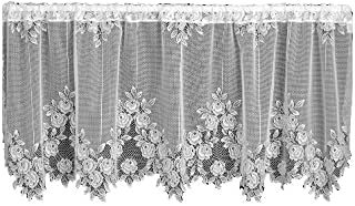 product image for Heritage Lace Tea Rose 60-Inch Wide by 24-Inch Drop Tier, White