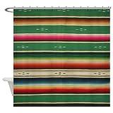 CafePress Vintge Green Mexican Serape Decorative Fabric Shower Curtain (69''x70'')