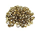 Amanaote 4mm Internal Hole Diameter Light Golden Eyelets Grommets with Washer Self Backing Pack of 150 Sets