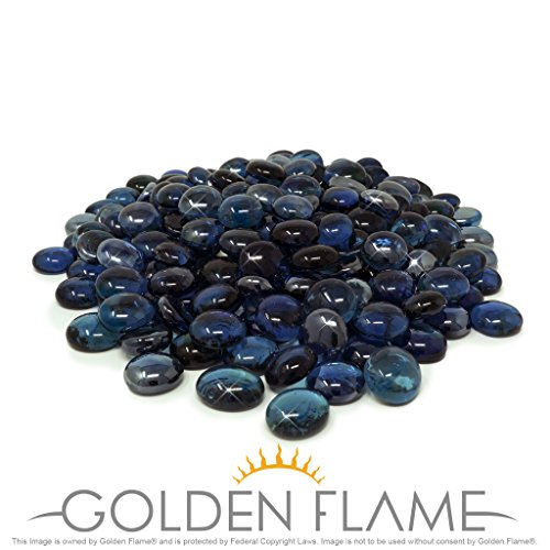 Golden Flame 10-Pound Fire Glass Fire-Drops 1/2-Inch Deep Pacific Blue Reflective (Glass Pacific Blue Fire)