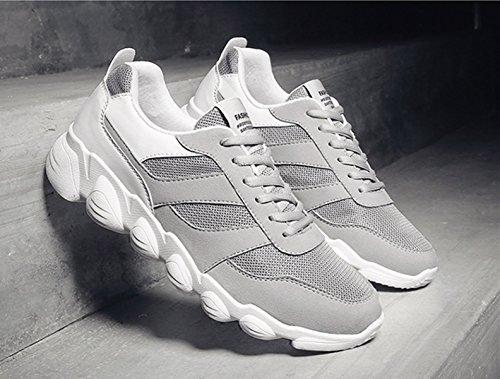 pelle uomo Bebete5858 vera slip mesh in morbido uomo on traspirante marchio scarpe grigio moda confortevole scarpe estate da scarpe casual estive rpqXvBp