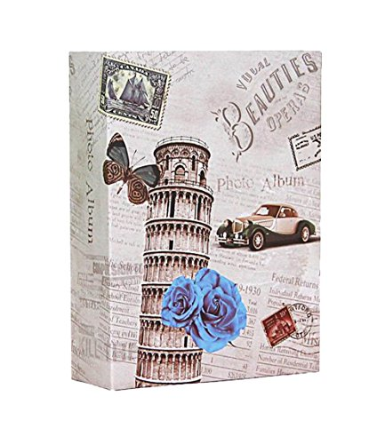 WEI - Álbum de Fotos de 10 x 15 cm con Capacidad para 200 Bolsillos, Color Negro, Leaning Tower