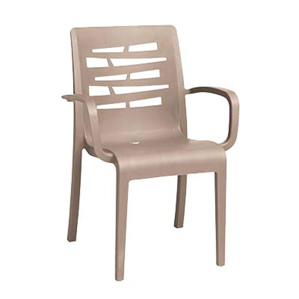 Grosfillex US811181 Essenza Stacking Armchair, Taupe (Case of 4)