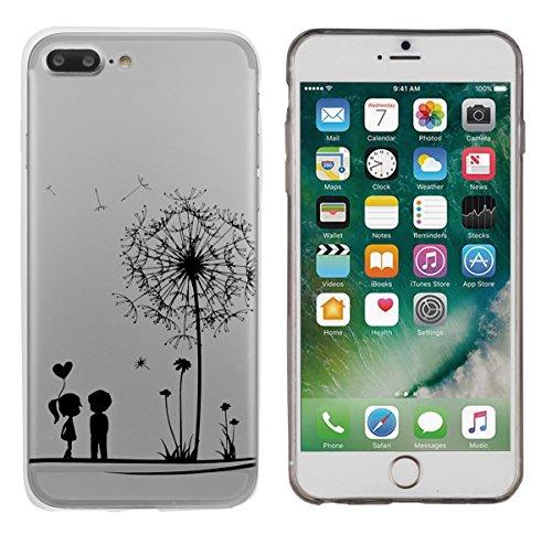 Yayago Coque de protection ultra-fine (0,8mm) pour Apple iPhone 7 Plus, transparent avec motif Love