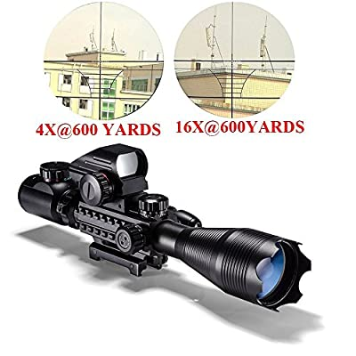 Aipai 3 in 1 Rifle Scope (4-12x50EG&4-16x50EG) Dual Illuminated for AR15 with Holographic 4 Reticle Red and Green Dot Refle Sight and Red Laser Sight for 22&11mm Weaver/Picatinny Rail Mount (12 Month Warranty)