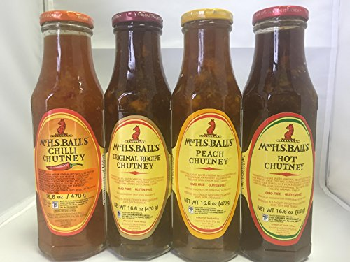 Mrs Balls Variety Sampler Selection of 4 flavors Original,Peach,Hot,Chilli Chutney South African ()
