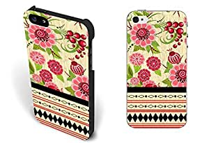 Retro Flower Wood Pattern Print Hard Protective Case Cover Iphone 5 5s for Women (aztec black 5243)