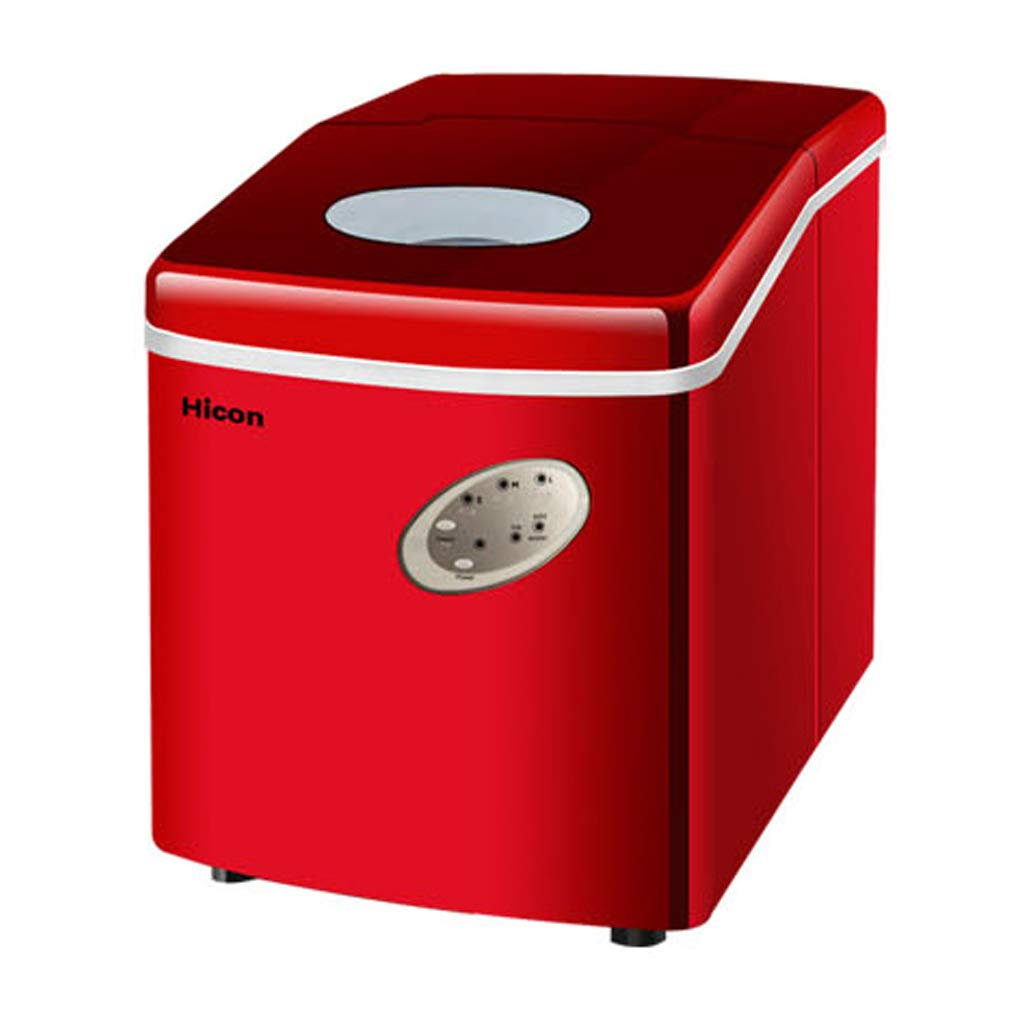 WHJ@ Ice Machine Commercial 18kg Tea Shop Small Household Mini Manual Desktop Bar Round Ice Cube Making Machine Red by WHJ-Ice maker