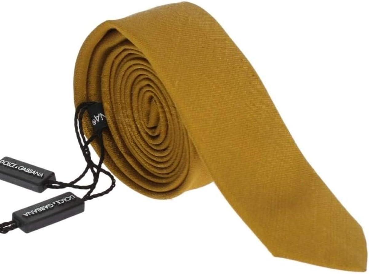 Dolce /& Gabbana Yellow Silk Skinny Tie SIG60002