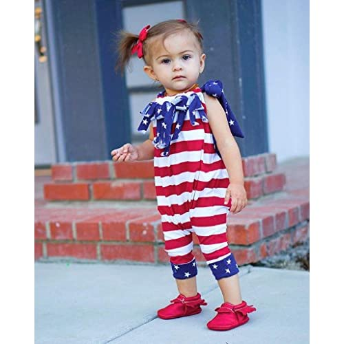 228c474c0 4th Of July Romper - Franterd Baby Striped Straps Rompers with ...