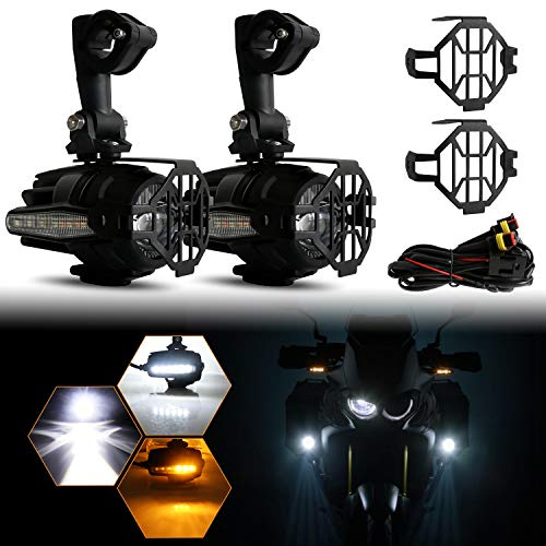 LED Auxiliary Lights for Motorcycle BMW K1600 R1200G, AAIWA 2pcs 40W 6000K Fog Driving Light Kits with Amber Turn Signal Protect Guards Wiring Harness, 2 Years Warranty (Bmw R1200gs Parts)