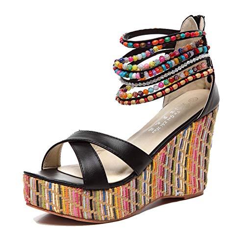 getmorebeauty Women's Black Weave Wedge with Pearls Across The Top Platform High Heels 5 B(M) US