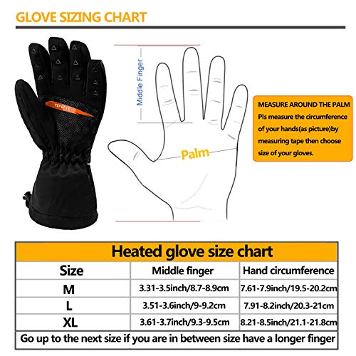 Heated Gloves for Men Women - Electric Heated Gloves 7.4V 5000mAh Rechargeable (Large)