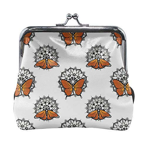 Mandala Pattern Butterfly Lotus Coral Vintage Pouch Girl Kiss-lock Change Purse Wallets Buckle Leather Coin Purses Key Woman Printed