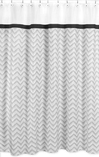 Black and Gray Zig Zag Kids Bathroom Fabric Bath Shower Curt