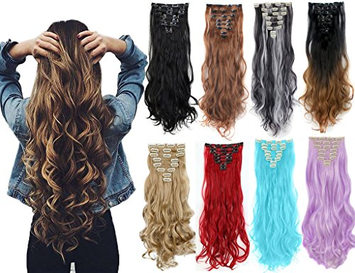 "8PCS 24"" Long Wavy Curly Full Head Clip in Hair Extensions 18Clips Women Lady Hairpiece"