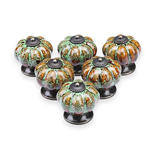 YDO Ceramic Glazed Pumpkin Knobs Classy Vintage Cabinet Door Pull Handle 6pcs (Green) ()