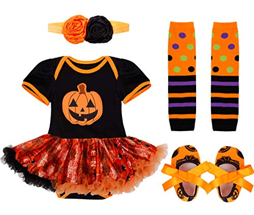 CHICTRY Infant Baby Girls 1st Halloween/Christmas Costume Princess Tutu Dress Romper Outfit Clothes Set 001 Pumpkin 0-3 Months