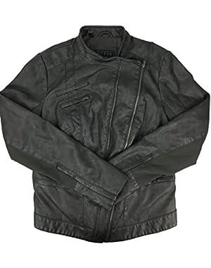 Guess Women's Piper Distress Moto Jacket