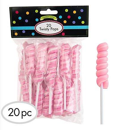 Pink Twisty Lollipops - 4 Packs of 20 Pops - 80 Total Pops (Swirled White Lollipops)