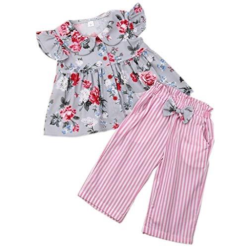 Baby Girl Clothes 2PCS Ruffle Outfits Short Sve Floral Shirt Tops+ Stripe Pants Set 2 Piece Set 6M-3Y Pink ()