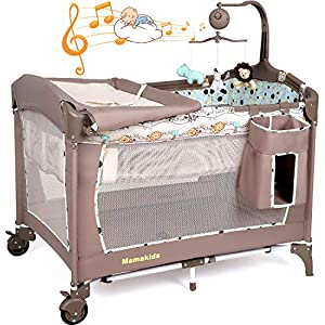Baby Crib Foldable Travel Cot Bed Playpen with Bassinet, Changing Table, Wheels and Brake, Portable Design with Carry…