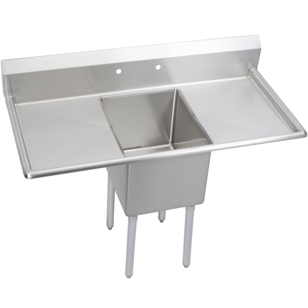 Fenix Sol One Compartment Stainless Steel Sink, Bowl: 16''L x 20''W x 12''D, Overall Size: 52''L x 25.8''W x 43''H, 2 x 18'' Drainboards, Galv Legs by Fausett International (Image #1)