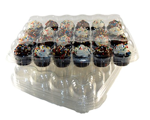(Regal Baker Mini Cupcake Containers Clear Plastic Holder for 24 cupcakes Reusable or Disposable to Go Box (4 count))