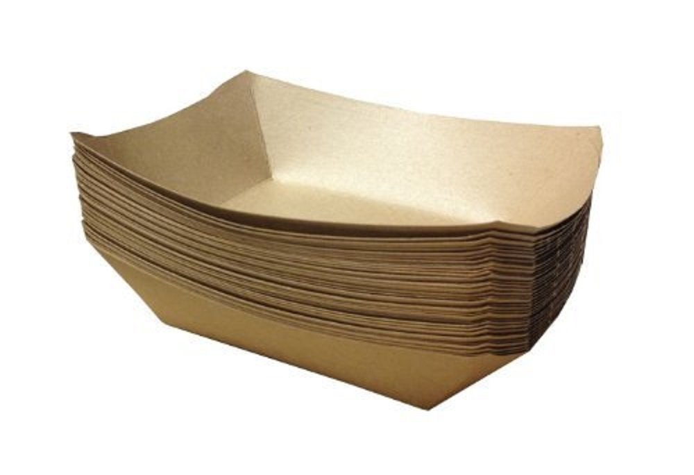 250-Pack of Natural Eco-Kraft Brown Paper Food Tray – 2 ½ lb Capacity – Grease-Proof Coating – Sturdy Paperboard Meal Serving Plate - Ideal for Restaurants, Deli's, Cafeteria, Parties & Events