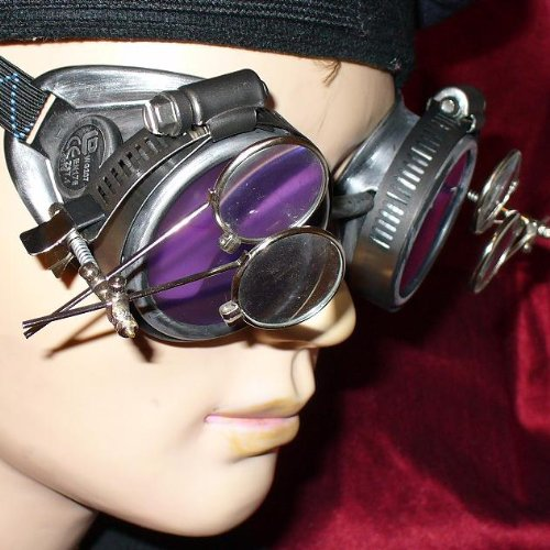 Steampunk Victorian Goggles Glasses silver lila magnifying lens 2x