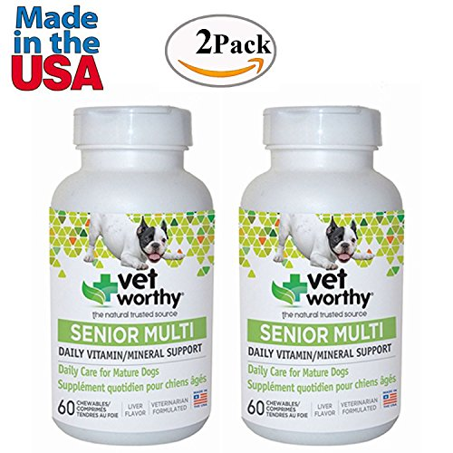 Multivitamin for Senior Dogs Made in USA Liver Flavored 120 Chewable Tablets Pack of 2