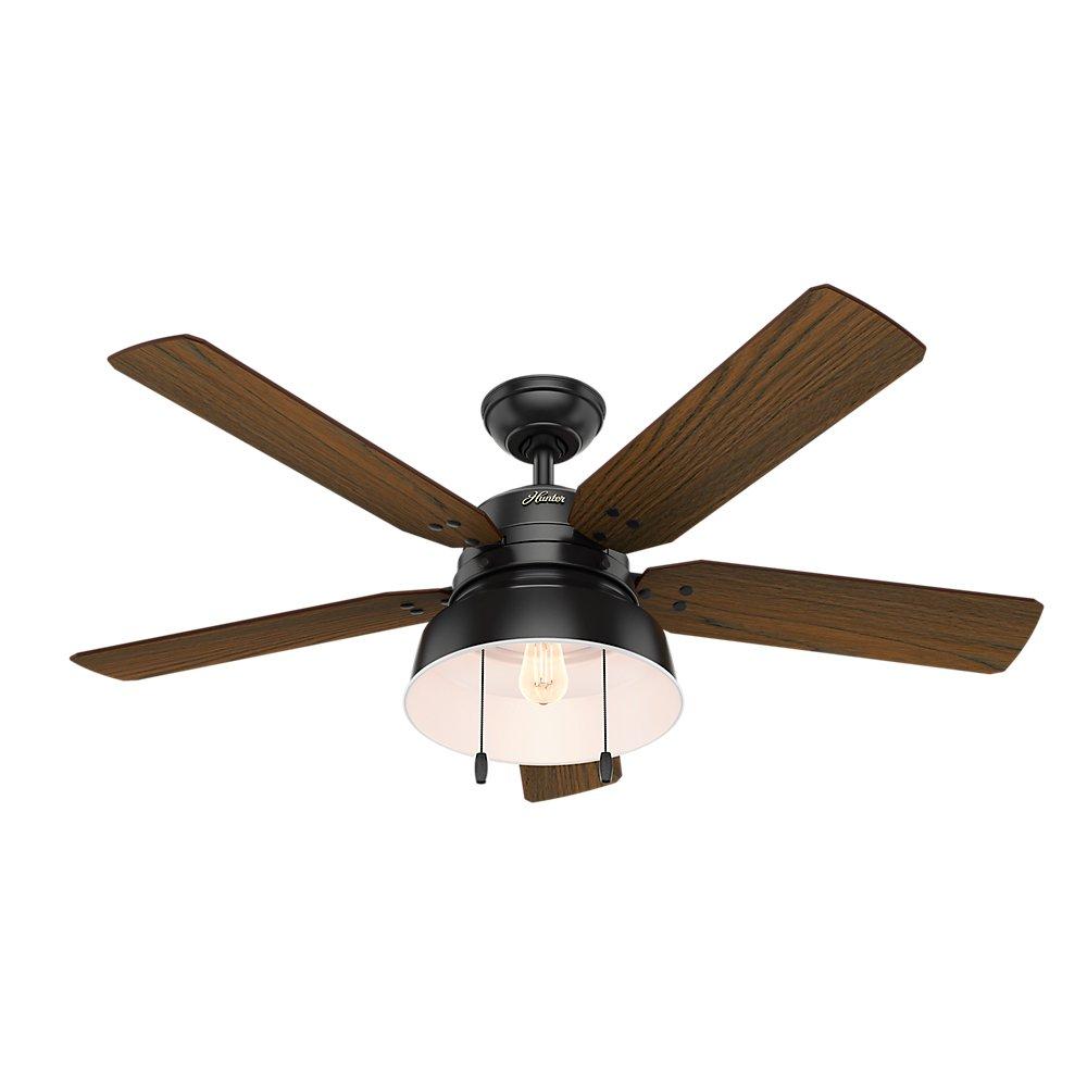 Matte Black Hunter Fan Large Hunter 59307 Mill Valley 52 Ceiling Fan with Light