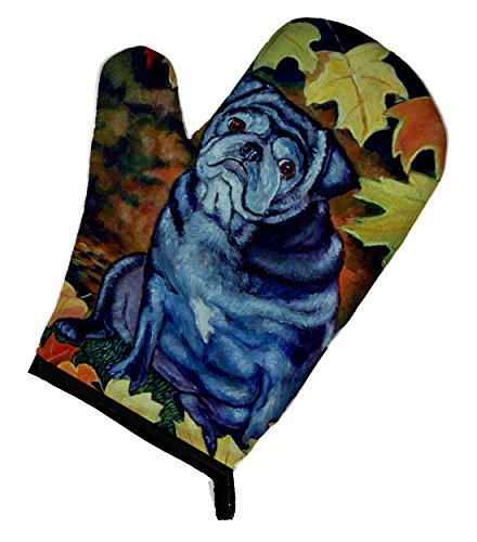 Caroline's Treasures 7159OVMT Old Black Pug in Fall Leaves Oven Mitt, 12
